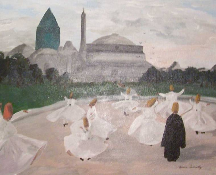 Painting by Emma Connolly of Whirling Dirvishes with Hagia Sophia in background